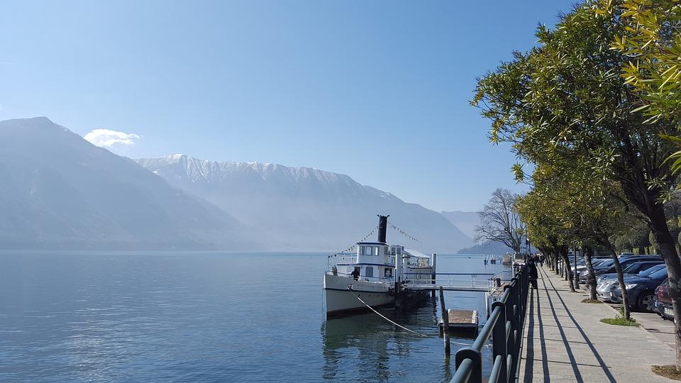Landscape, Ship, Lake Como, Italy, Lombardy, Alpine
