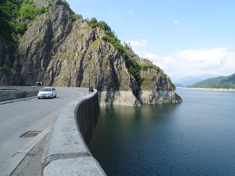 Dam, Water, Lake, Auto, Road, Mountains