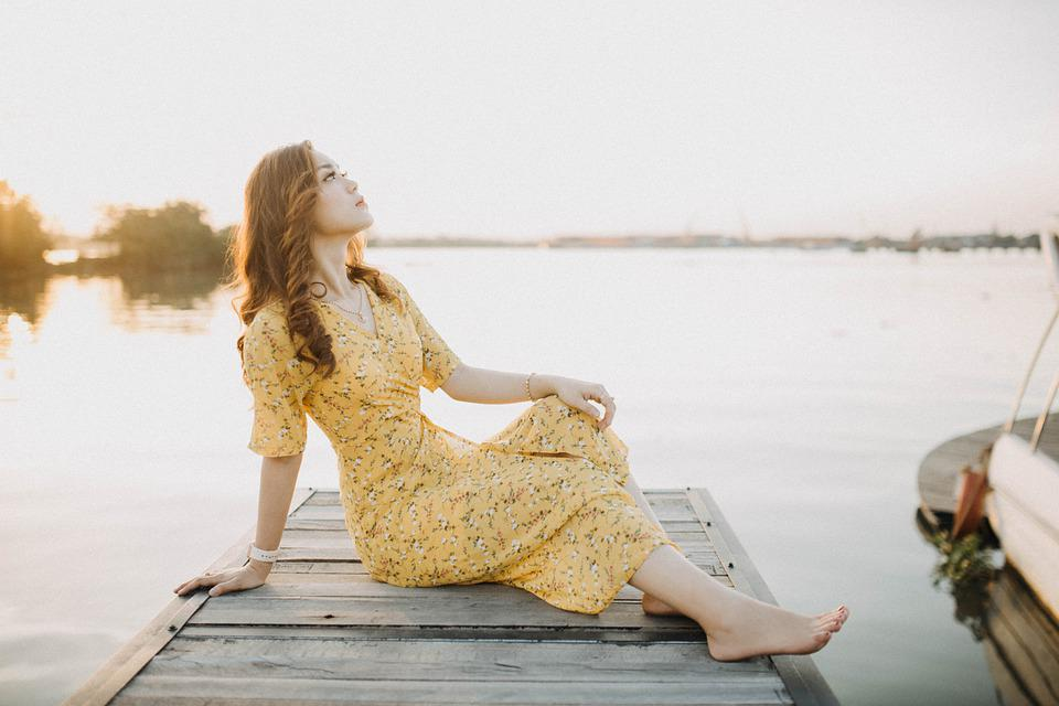 Woman, Model, Portrait, Pose, Outdoor, Dress, Lake