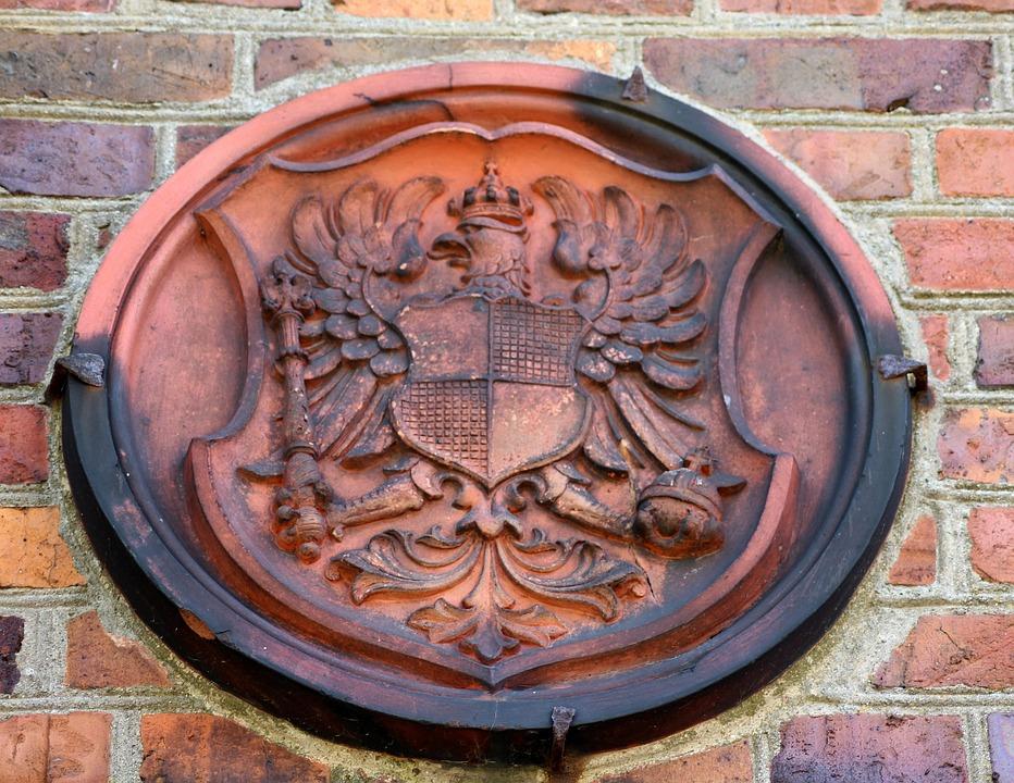 Coat Of Arms, Lake Dusia, Monument, Stone, Brick
