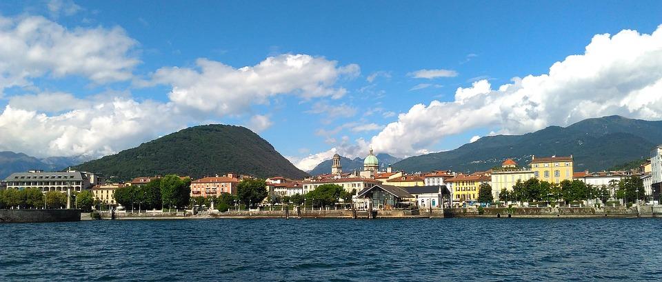 Lake, Italy, Europe, Town, Shoreline, Mountains