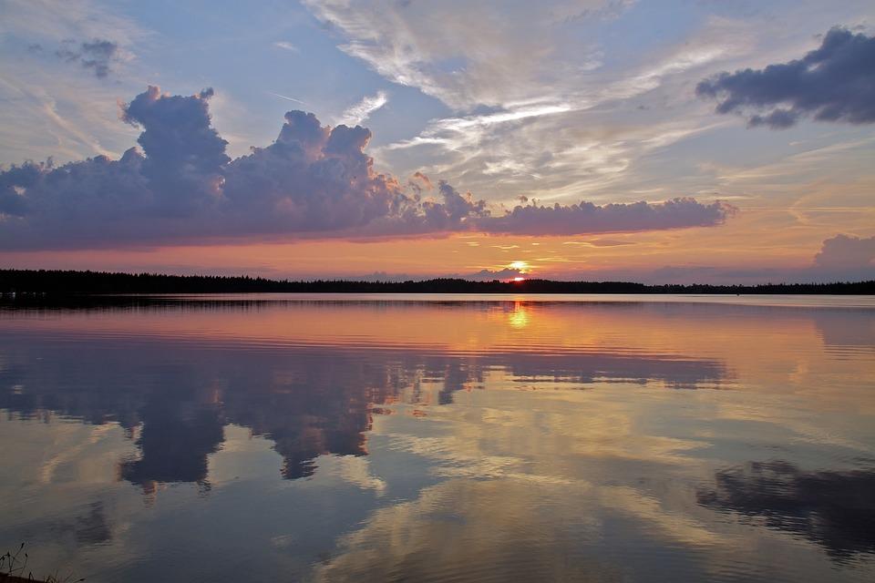 Lake, Sunset, Landscape, Evening, Reflection, Twilight