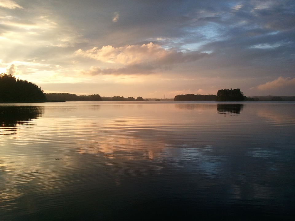 Finland, Summer, Lake, Reflections, Evening