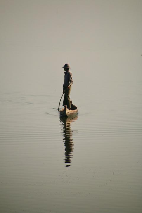 Fisherman, Boat, Lake, Man, Fishing