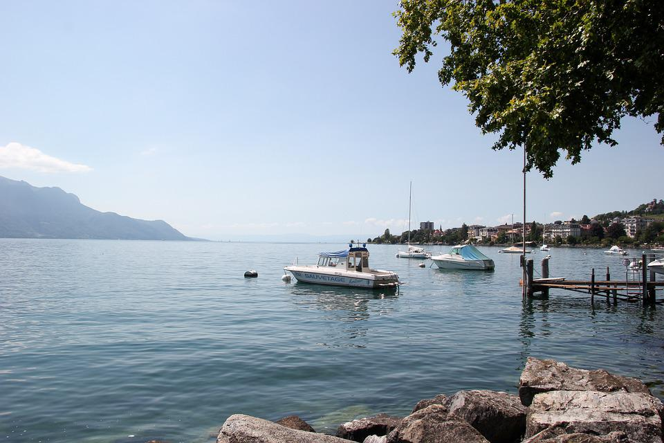 Lake, Boats, Pier, Mountains, Lake Geneva, Genfersee