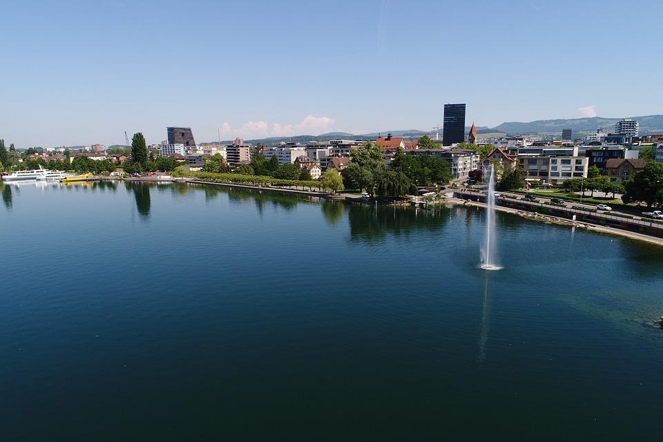 Train, Lake, Fountain, Geneva, Aerial View, Skyscraper