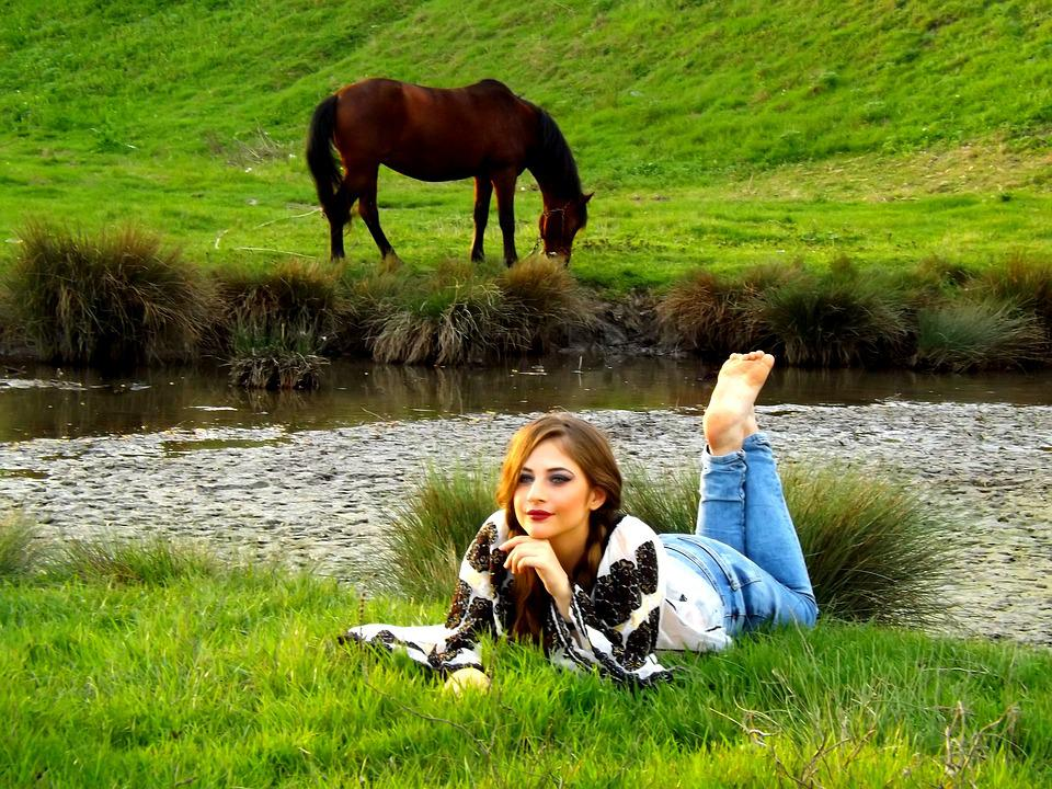 Girl, Horse, Rustic, Grass, Lake, Meadow, Green