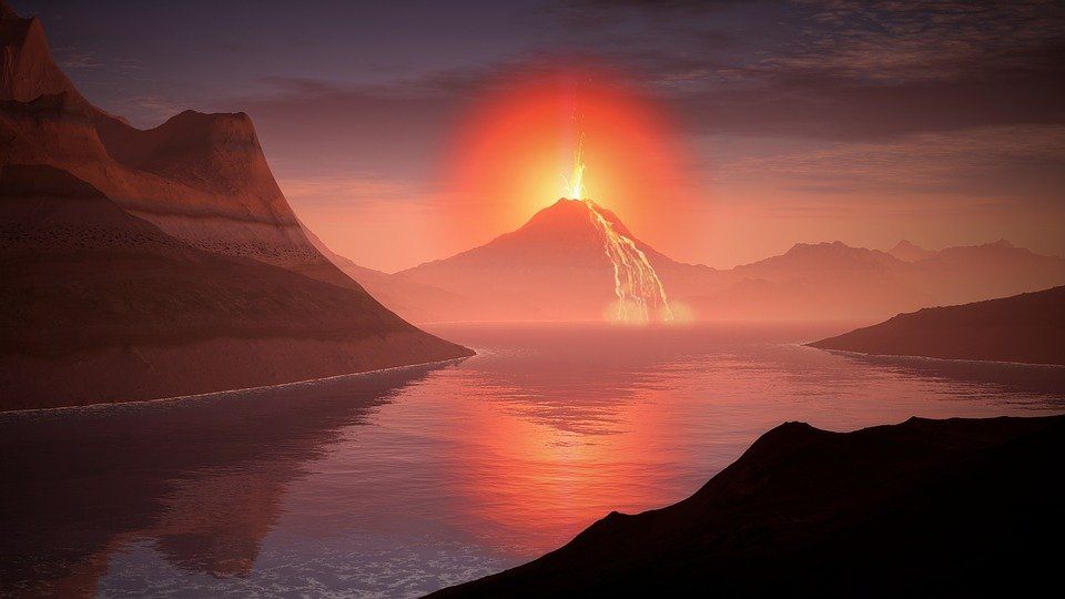 Volcano, Lava, Landscape, Glow, Lake, Mountains, Water