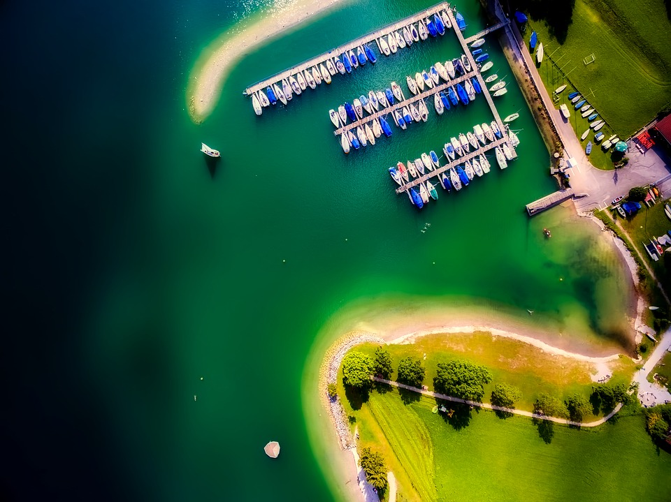 Marina, Bay, Harbor, Boats, Lake, Water, Aerial View