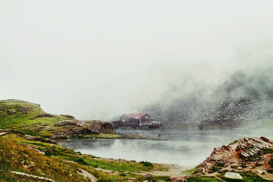 Fog, House, Lake, Landscape, Mist, Mountain, Nature