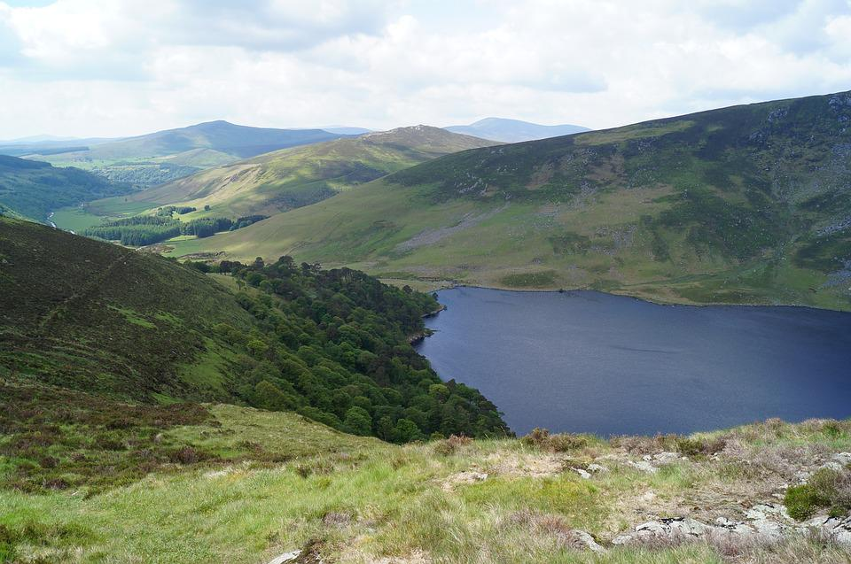 Mountain, Lake, Valley, Glendalough, Ireland