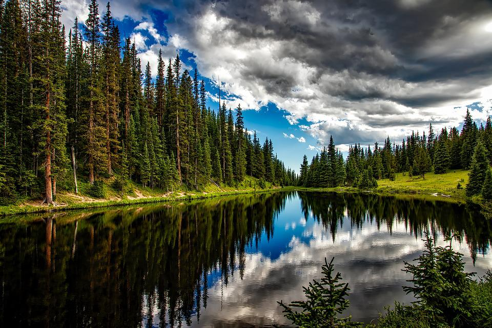 Lake Irene, Colorado, Water, Reflections, Sky, Clouds