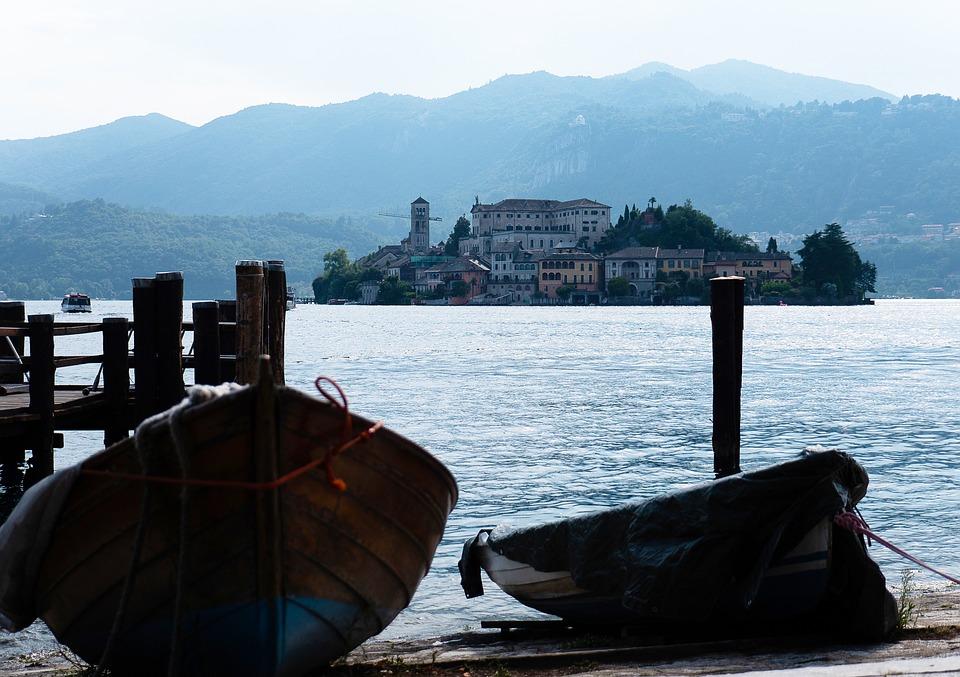 Orta, San Giulio, Lake, Italy, Island, Boats