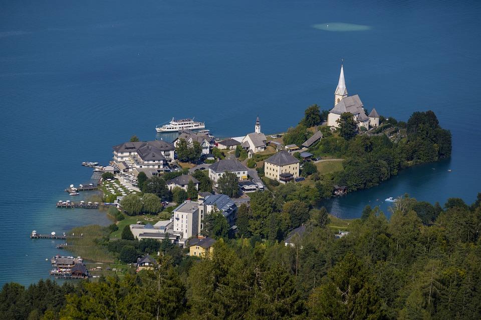 Village, Church, Island, Maria Wörth, Lake