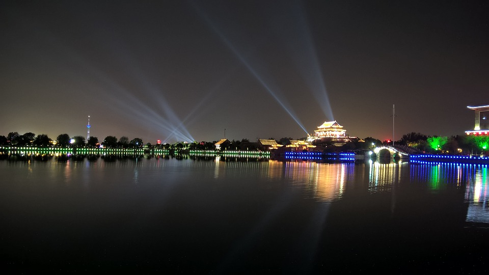 Night, Light, Lake, Kaifeng, Resorts