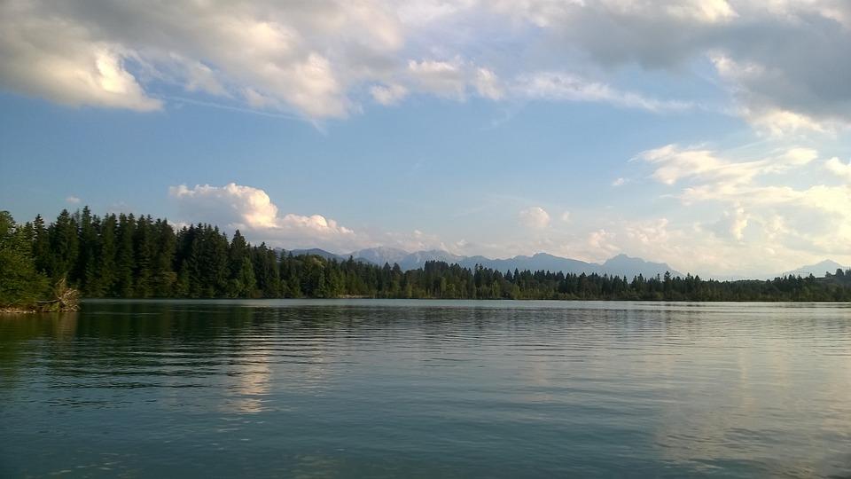 Mountains, Allgäu, Lake, Lake Forggensee, Greened