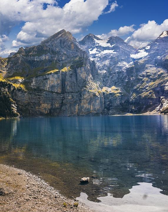 Nature, Landscape, Lake, Mountains, Lake Oeschinen