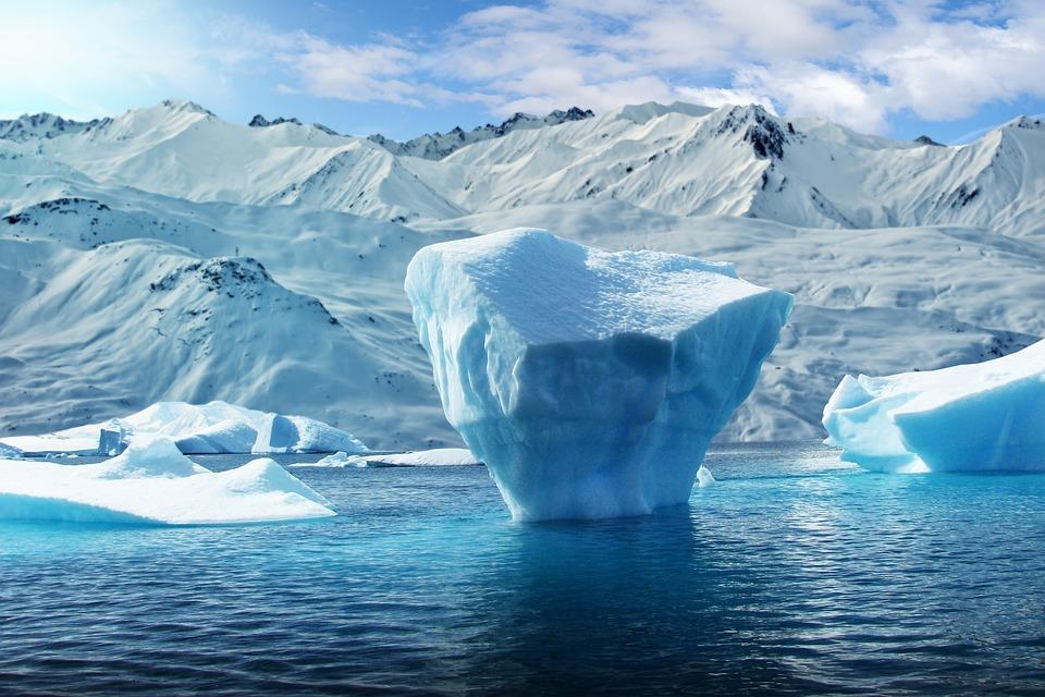 Mountain, Snow, Lake, Iceberg, Sky, Clouds, Landscape