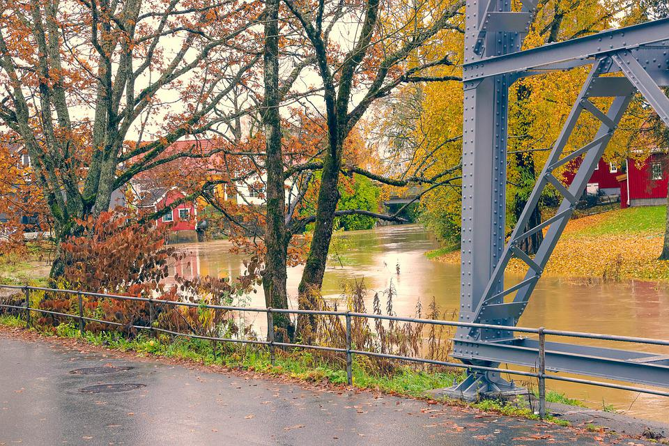 Landscape, Water, River, Autumn, Tree, Lake, Bridge