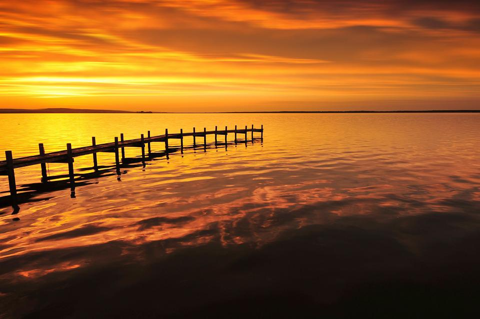 Web, Golden, Lighting, Lake, Water, Sky, Mood