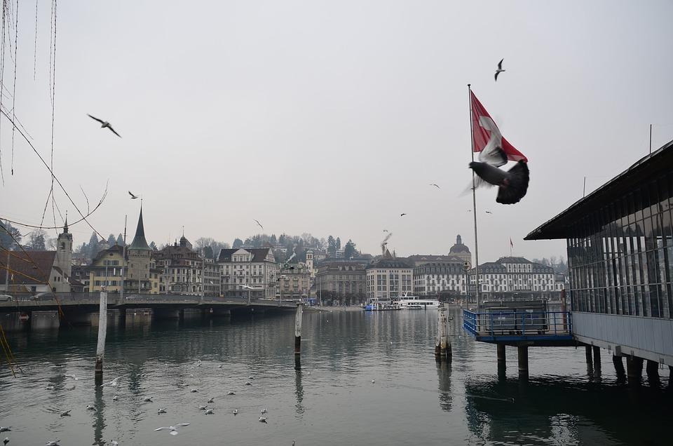Swiss, Dock, Water, Luzern, Lake, Architecture, Skyline