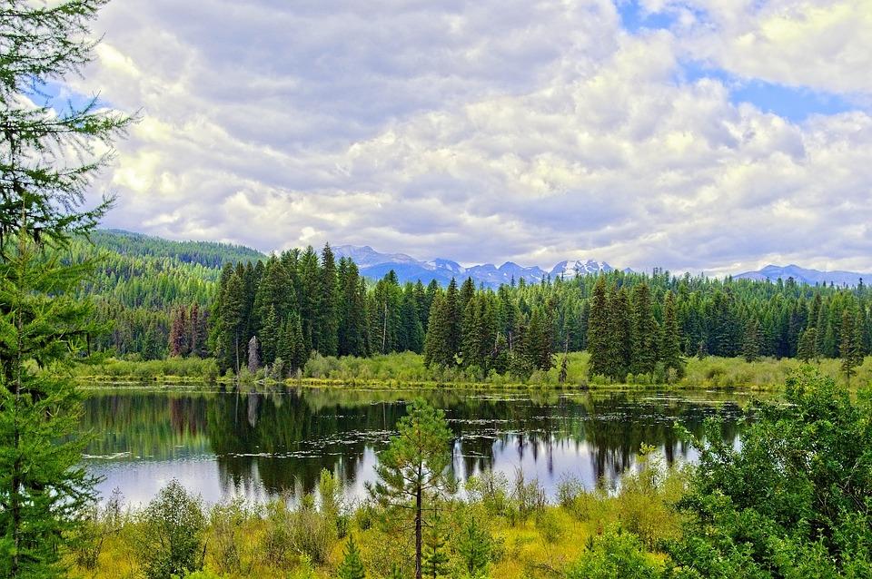 Swan Mountain Range, Montana, Mountains, Forest, Lake