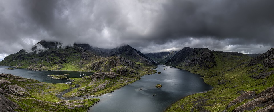Cloudy, Lake, Landscape, Mountain, Outdoors, Panoramic