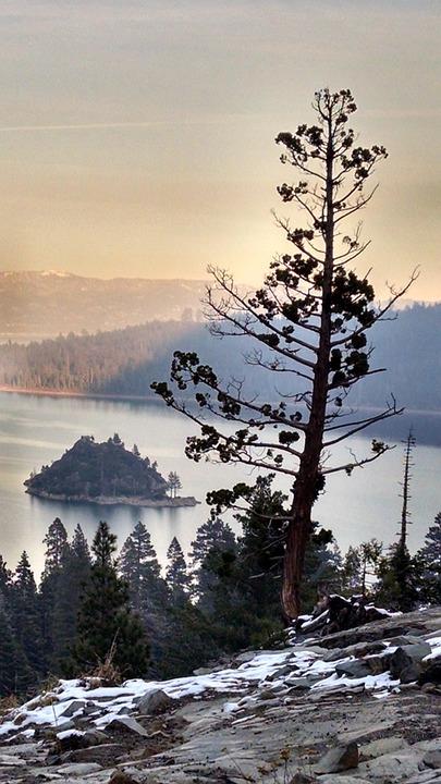 Tahoe, Mountain, Lake, Island, Pine, Sunset, Landscape