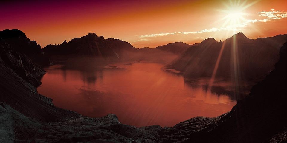 Sunset, Lake, Mountain, Scenery, Landscape, Nature