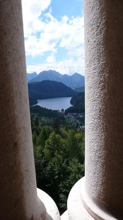 Lake, View, Mountains, Columnar