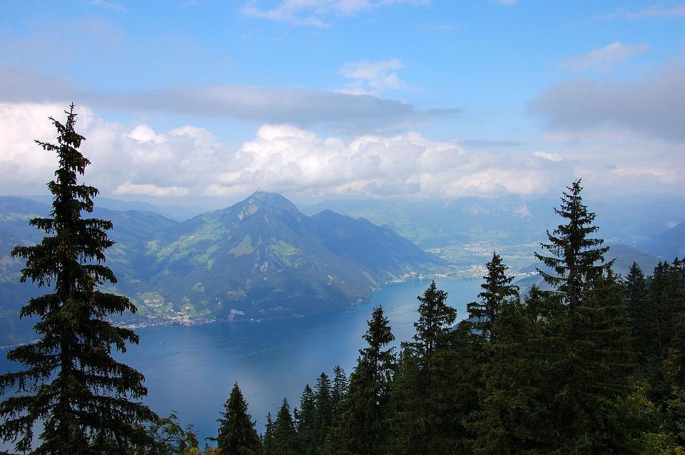 Klewenalp, Lake, Lake Lucerne Region, Mountains, Clouds