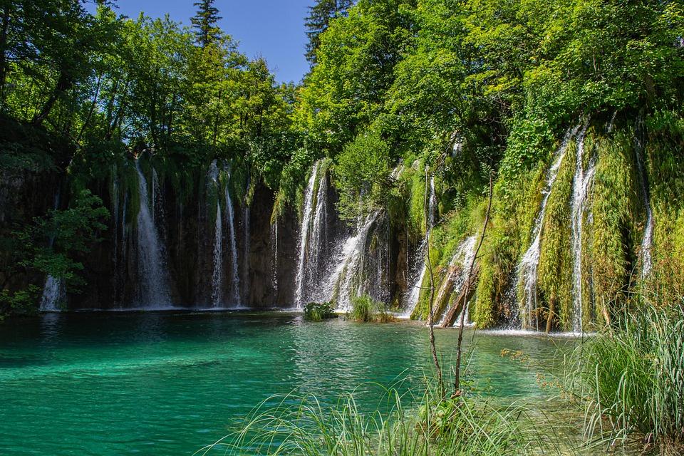 Lake, Waterfall, Green, Nature, Plitvice