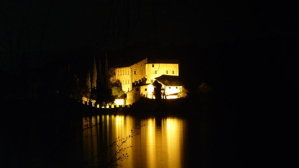 Toblino, Night, Lake, Castle