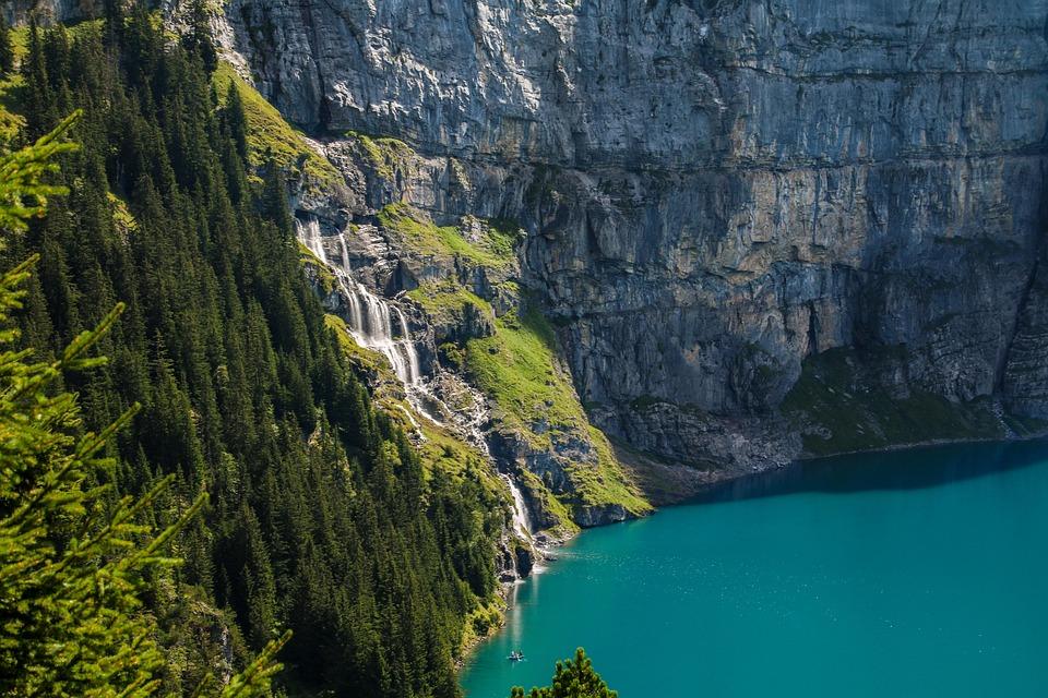View, Bergsee, Waterfall, Mountains, Lake Oeschinen