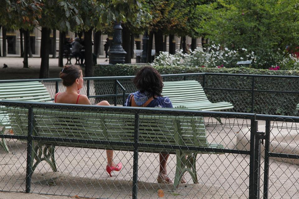 Women, Park, Lake