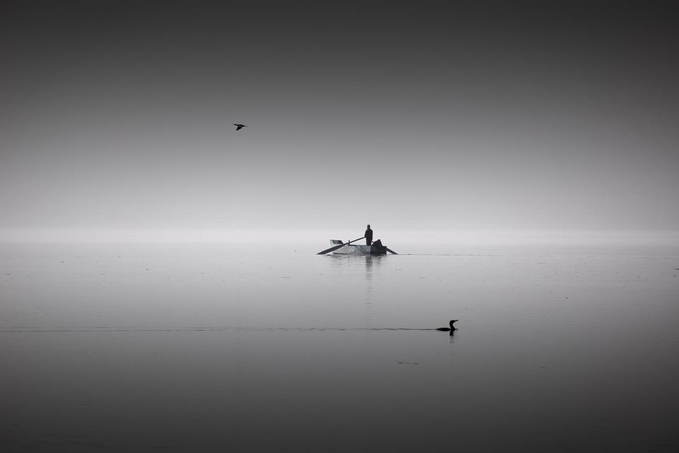 Black, White, People, Lake, Fine Art, Bw, Light, Fog
