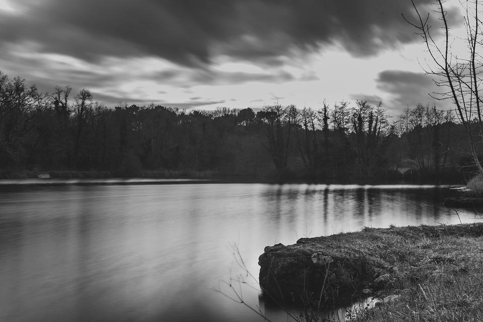 Long Exposure, Monochrome, Lake, Photography, Nature