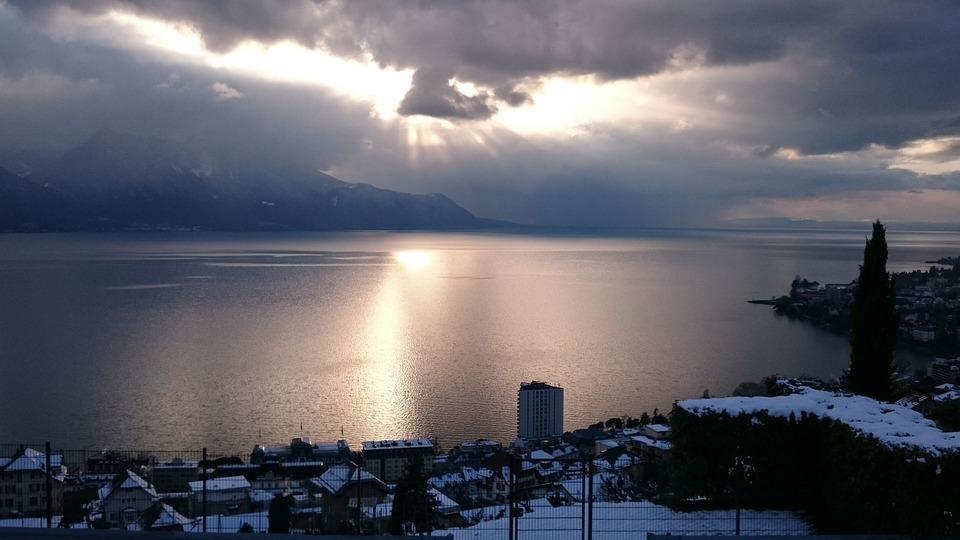 Montreux, Winter, Lake, Geneva, Reflections, Sky