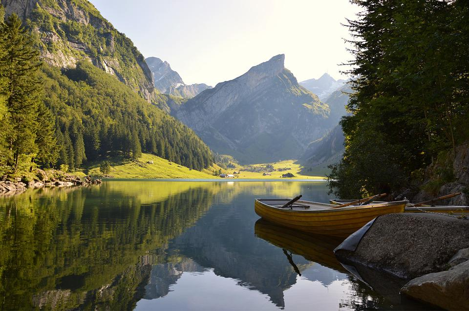 Water, River, Lake, Mountains, Alpine, Boat, Forest