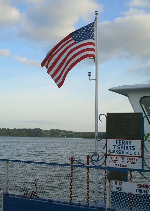 Ferry, Boat, American Flag, Flag, Lake, River, Travel