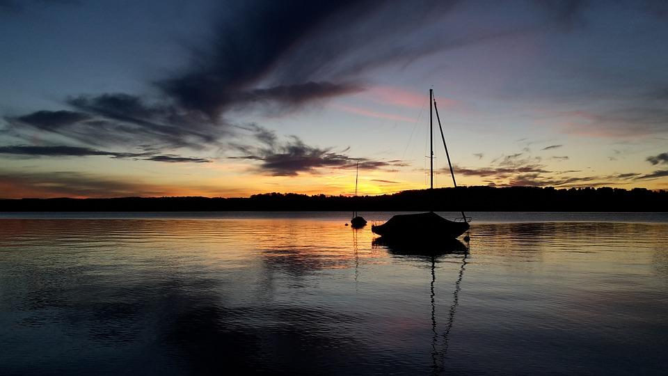 Sailing Boat, Sunset, Lake, Abendstimmung, Romance