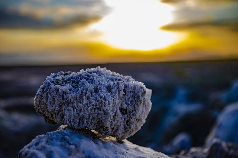 Salt, Rock, Lake, Sunset, Landscape, Nature, Desert