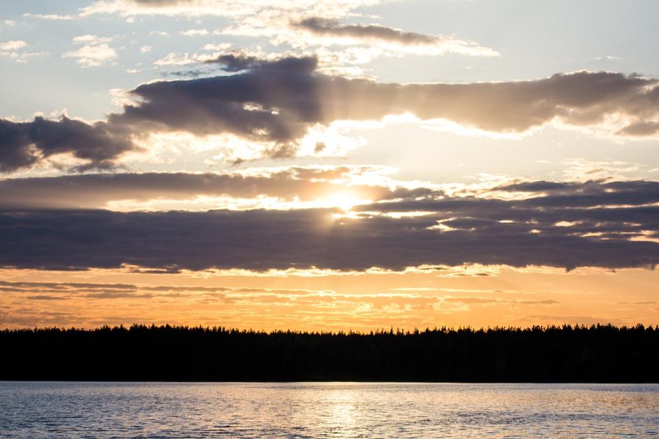 Sunset, Clouds, Lake, Silhouettes, Dusk, Twilight