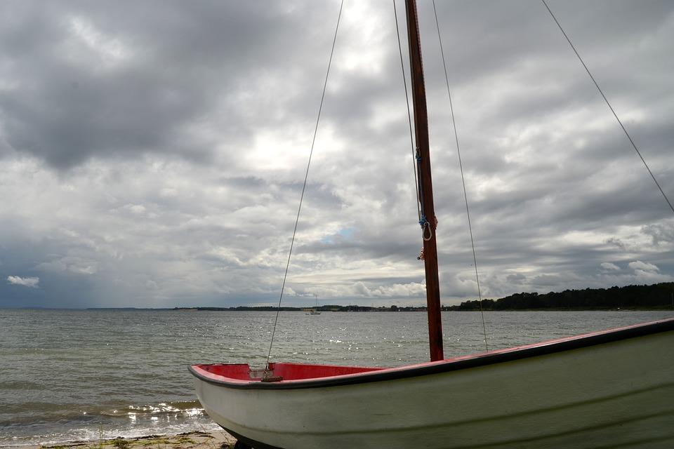 Sea, Boat, Sailing Boat, Sky, Clouds, Lake