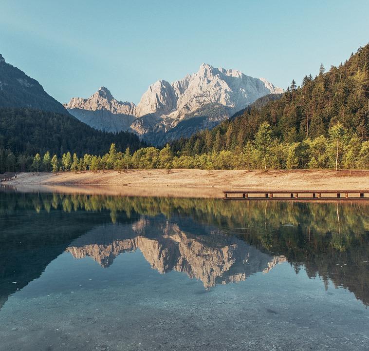 Mountains, Postcard, Lake, River, Drought, Sky, Peak