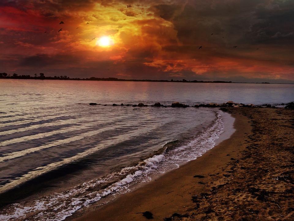 Beach, Sky, Sunset, Coast, Landscape, Lake, Rock