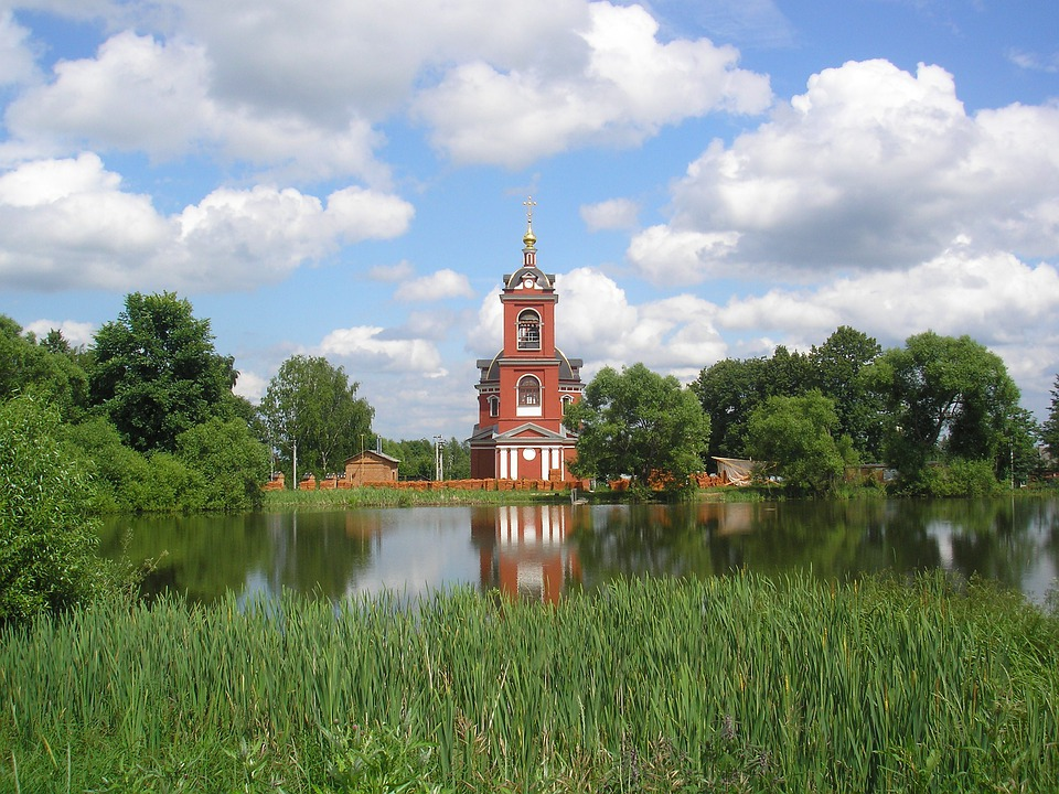 Russia, Church, Sky, Clouds, Landscape, Scenic, Lake