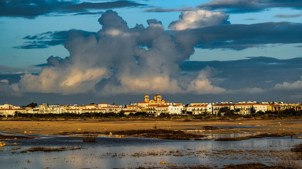 Town, Lake, Landscape, Swamp, Sky, Clouds, Scenery