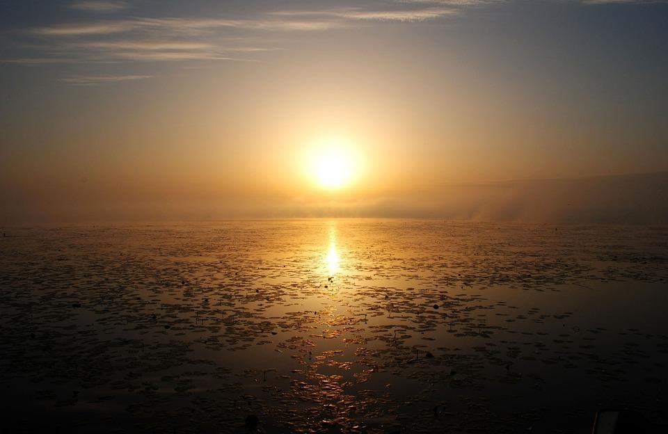 Spring Lake, Sunrise, Lake, Sky, Bad Buchau, Water