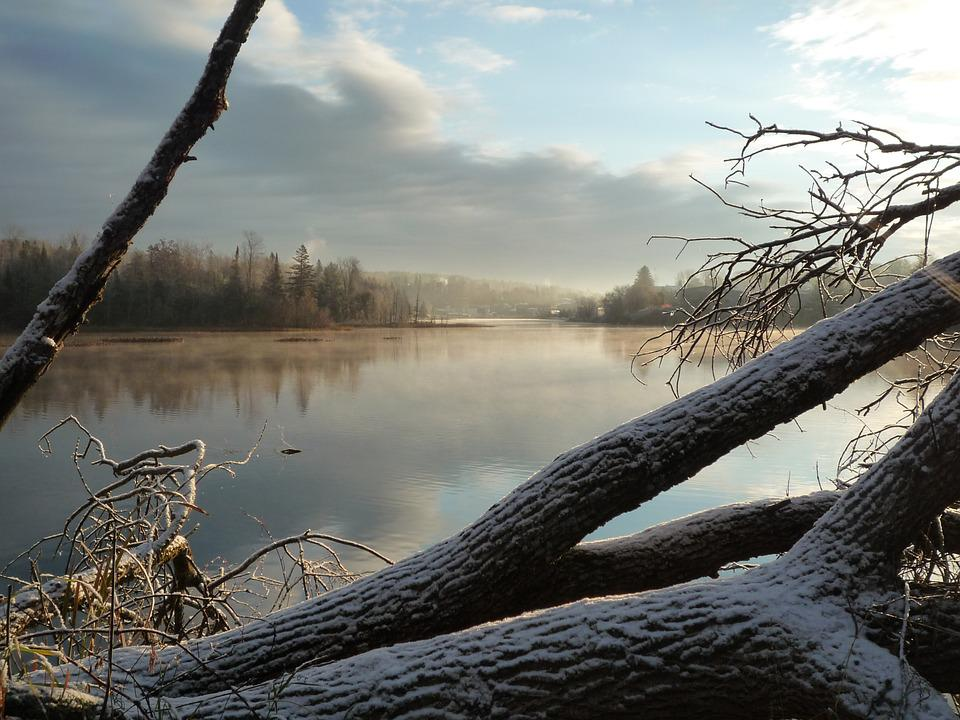 River, Lake, Winter, Landscape, Water, Nature, Sky
